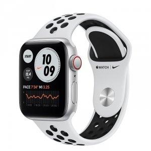 Apple Watch Nike SE 40mm GPS + LTE (cellular) Aluminium w kolorze srebrnym z paskiem sportowym Nike w kolorze czystej platyny / czarnym