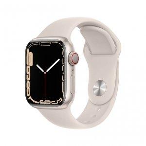 Apple Watch Series 7 41mm GPS + Cellular (LTE) Koperta z aluminium w kolorze księżycowej poświaty z paskiem sportowym w kolorze księżycowej poświaty