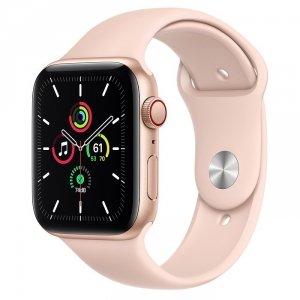 Apple Watch SE 44mm GPS + LTE (cellular) Aluminium w kolorze złotym z paskiem sportowym w kolorze piaskowego różu - nowy model
