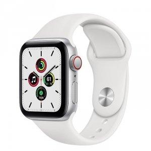 Apple Watch SE 44mm GPS + LTE (cellular) Aluminium w kolorze srebrnym z paskiem sportowym w kolorze białym - nowy model