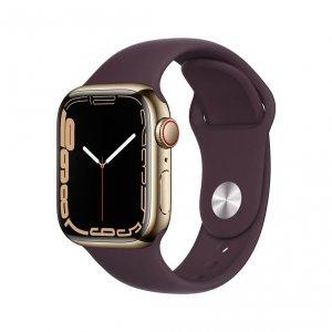 Apple Watch Series 7 41mm GPS + Cellular (LTE) Koperta ze stali nierdzewnej w kolorze złotym z paskiem sportowym w kolorze ciemnej wiśni