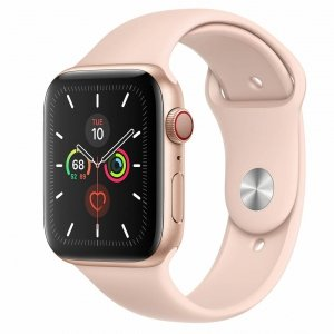 Apple Watch Series 5 44mm GPS + LTE (cellular) Aluminium w kolorze złotym z paskiem sportowym w kolorze piaskowego różu