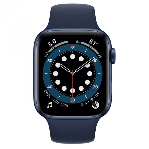Apple Watch Series 6 44mm GPS + LTE (cellular) Aluminium w kolorze niebieskim z paskiem sportowym w kolorze głębokiego granatu