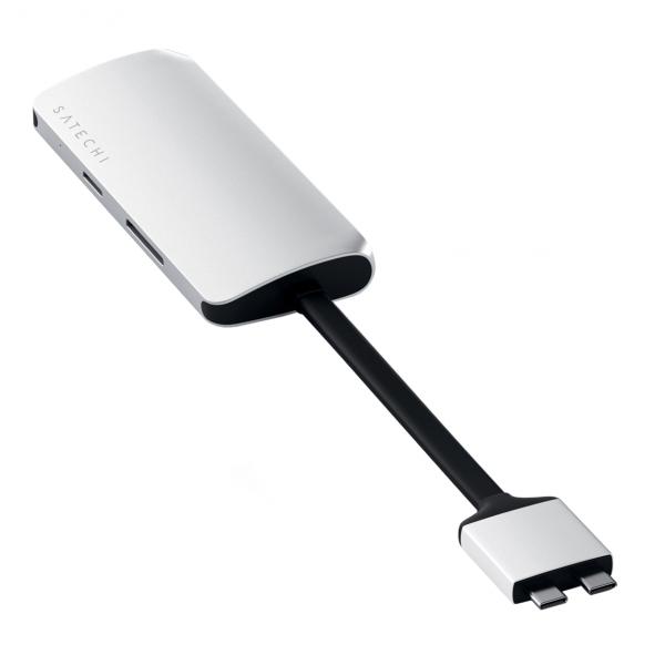 Satechi Dual USB-C Multimedia HUB - Ethernet / 2 xHDMI / 2xUSB 3.0 / USB-C(PD) / SD / microSD / Silver (srebrny)
