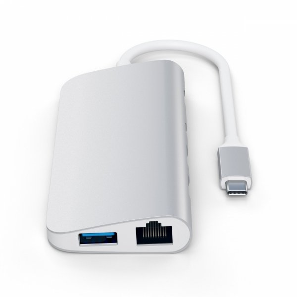 Satechi Aluminium Multimedia USB-C Adapter - Ethernet/USB 3.0/USB-C PD/HDMI/DisplayPort/SD/microSD Silver