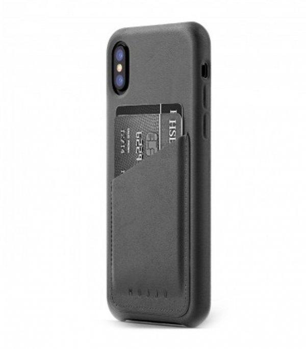 Mujjo Full Leather Wallet- etui skórzane do iPhone X  (szare)