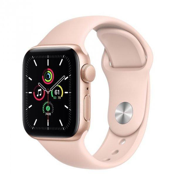 Apple Watch SE 40mm GPS Aluminium w kolorze złotym z paskiem sportowym w kolorze piaskowego różu - nowy model