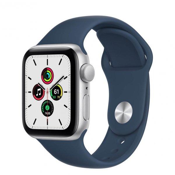 Apple Watch SE 40mm GPS Aluminium w kolorze srebrnym z paskiem sportowym w kolorze błękitnej toni