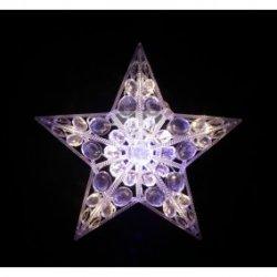 Gwiazda LED ażurowa ozdoba okienna z zasilaczem 31V przeźroczysty przewód 16L ciepły biały 10-302