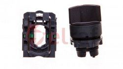 Przełącznik 3 położeniowy pokretło 22mm czarny 2Z z samopowrotem XB5AD53
