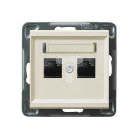 SONATA Gniazdo komputerowe podwójne 2xRJ45 kat.6 ecru KRONE GPK-2R/K6/m/27