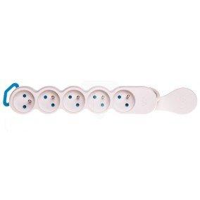 Przedłużacz 5-gniazd z/u 3m /H05VV-F3G1/ biało-szary PSA0513