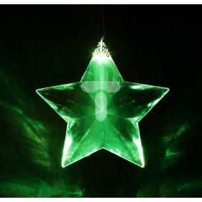 Gwiazda LED ażurowa ozdoba okienna na baterie przeźroczysty przewód zmieniająca kolor 10-409
