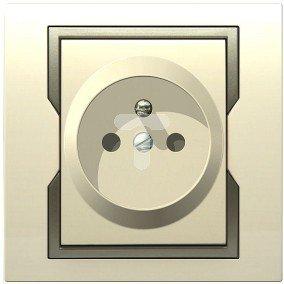 QUATTRO Gniazdo pojedyncze b/u z przesłonami kremowe + satynowy element zdobniczy 1140-01