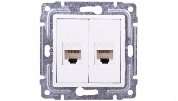 VENA Gniazdo komputerowe podwójne 2xRJ45 kat.5e nieekranowane białe 510467