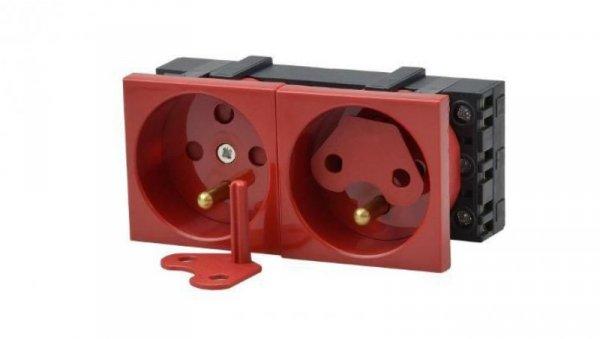 Gniazdo podwójne 2x2P+T DATA z blokadą czerwone z dwoma kluczami JL-01-G23-4K