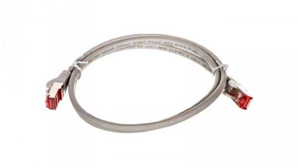 Kabel krosowy patchcord S/FTP (PiMF) kat.6 LSZH szary 1m 50886