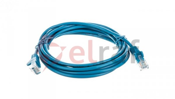 Kabel krosowy patchcord U/UTP kat.5e CCA niebieski 3m 68365
