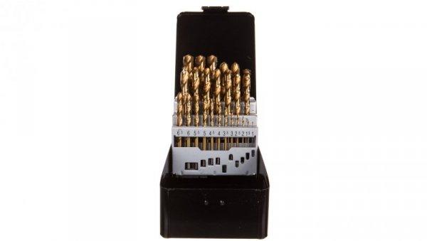 Zestaw wierteł do metalu HSS-TiN 1.0-13 mm głęboko szlifowane stal 9341 DIN338 25 elementów 57H200