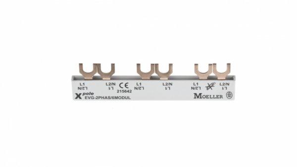Szyna łączeniowa 2P 63A 10mm2 widełkowa (6 mod.) EVG-2PHAS/6MODUL 215642