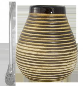 Zestaw Matero Ceramiczne miodowe + Bombilla