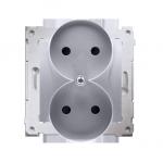 Gniazdo wtyczkowe podwójne bez uziemienia z przesłonami torów prądowych do ramek Nature (moduł) 16A 250V, zaciski śrubowe, srebr
