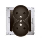 Gniazdo wtyczkowe podwójne z uziemieniem z przesłonami - do Ramek NATURE (moduł) 16A 250V, zaciski śrubowe, brąz mat, metalizowa