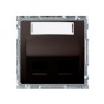 Pokrywa gniazd teleinformatycznych na PANDUIT, skośna podwójna z polem opisowym czekoladowy mat, metalizowany
