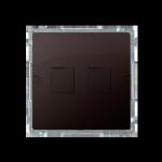 Pokrywa gniazd teleinformatycznych na Keystone płaska podwójna czekoladowy mat, metalizowany