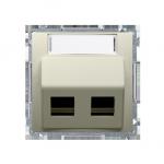Pokrywa gniazd teleinformatycznych na PANDUIT, skośna podwójna z polem opisowym beżowy