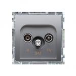 Gniazdo antenowe R-TV-SAT końcowe/zakończeniowe tłum.:1dB srebrny mat, metalizowany