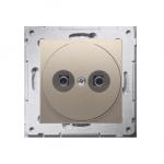 Gniazdo ekwipotencjalne do ramek Nature do ramek Premium (moduł) zaciski śrubowe 2.5, 4, 6 mm2, złoty mat, metalizowany