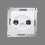 Gniazdo antenowe R-TV końcowe separowane tłum.:1dB biały