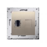 Gniazdo HDMI pojedyncze złoty mat, metalizowany