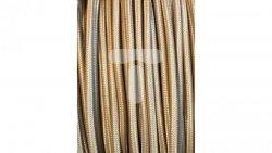 Kolorowy przewód mieszkaniowy H03VV-F (OMY) 3G 0,75 żo w oplocie tekstylnym jednobarwny szampan PPJBSPNN05 /bębnowy/
