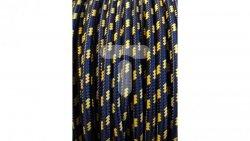 Kolorowy przewód mieszkaniowy H03VV-F (OMY) 3G 0,75 żo w oplocie tekstylnym spirala granatowo-żółta PPSPGNZO02 /bębnowy/