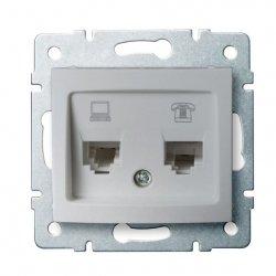 Gniazdo komputerowo-telefoniczne (RJ45 Cat 5e+RJ11) DOMO 01-1430-043 sr 24875