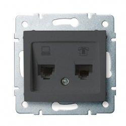Gniazdo komputerowo-telefoniczne (RJ45 Cat 5e+RJ11) DOMO 01-1430-041 gr 24934
