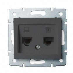 Gniazdo komputerowo-telefoniczne, (RJ45 Cat 6+RJ11) DOMO 01-1440-041 gr 24935