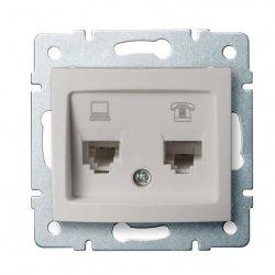 Gniazdo komputerowo-telefoniczne (RJ45 Cat 5e+RJ11) DOMO 01-1430-030 pe 24993