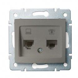 Gniazdo komputerowo-telefoniczne, (RJ45 Cat 6+RJ11) DOMO 01-1440-050 sz 25053