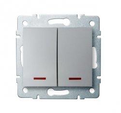 Łącznik dwugrupowy świecznikowy z LED LOGI 02-1120-143 sr 25198