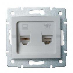 Gniazdo komputerowo-telefoniczne, (RJ45 Cat 6+RJ11) LOGI 02-1440-043 sr 25231