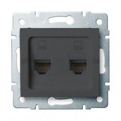 Gniazdo komputerowe podwojne niezalezne, (2x RJ45Cat 5e Jack) LOGI 02-1410-041 gr 25287