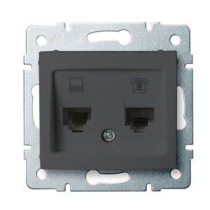 Gniazdo komputerowo-telefoniczne (RJ45 Cat 6+RJ11) DOMO 01-1440-041 gr 24935