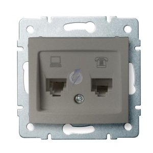 Gniazdo komputerowo-telefoniczne (RJ45 Cat 6+RJ11) DOMO 01-1440-050 sz 25053