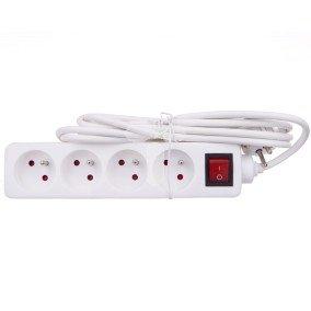 Przedłużacz 4-gniazdowy z wyłącznikiem 16A, kabel 3G1, 3m - VELSTRO, VS-01-041