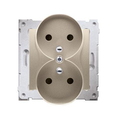 Gniazdo wtyczkowe podwójne z uziemieniem z przesłonami - do Ramek NATURE (moduł) 16A 250V, zaciski śrubowe, złoty mat, metalizow