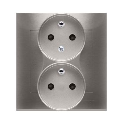 Gniazdo wtyczkowe podwójne z uziemieniem z funkcją niezmienności faz (kompletny produkt) 16A 250V, zaciski śrubowe, złoty mat, m