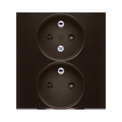 Gniazdo wtyczkowe podwójne z uziemieniem z funkcją niezmienności faz (kompletny produkt) 16A 250V, zaciski śrubowe, brąz mat, me